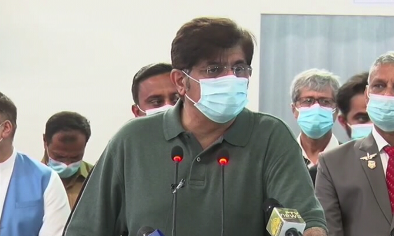 Sindh Chief Minister Murad Ali Shah speaks to the media in Karachi on Sunday — File/Photo Newsline.pk