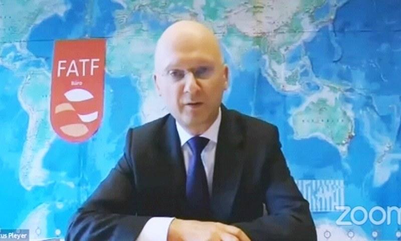 FATF President Dr Marcus Pleyer addresses the webinar — File/Photo Newsline.pk