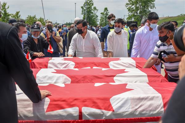 Muslim truck victims were farewell to Canadian flag-drapped coffins