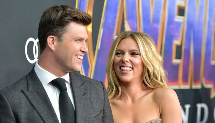 "Scarlett Johansson discusses her husband Colin Jost's love of the film ""Black Widow."""