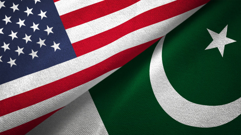 Pakistan and United States flags together realtions textile cloth fabric texture