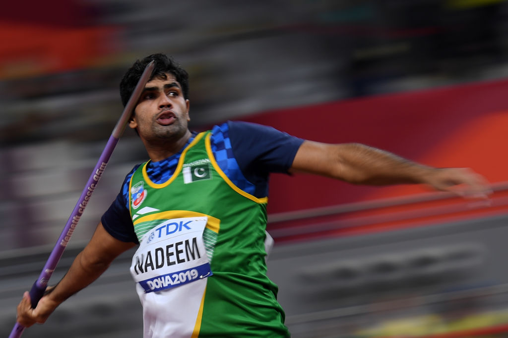 Pakistan's Arshad Nadeem competes in the Men's Javelin Throw heats at the 2019 IAAF Athletics World Championships at the Khalifa International stadium in Doha on October 5, 2019. (Photo by Kirill KUDRYAVTSEV / AFP) (Photo by KIRILL KUDRYAVTSEV/AFP via Getty Images)