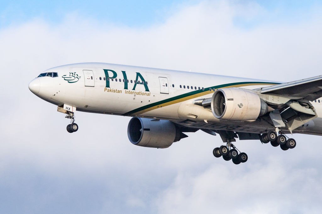 PIA Pakistan International Airlines Boeing 777-200 wide body airplane with two GE90 engines and registration AP-BHX landing at London Heathrow International Airport in England, UK. PIA PK is the national flag carrier of Pakistan. The airline connects London to Islamabad, Karachi and Lahore. (Photo by Nicolas Economou/NurPhoto via Getty Images)